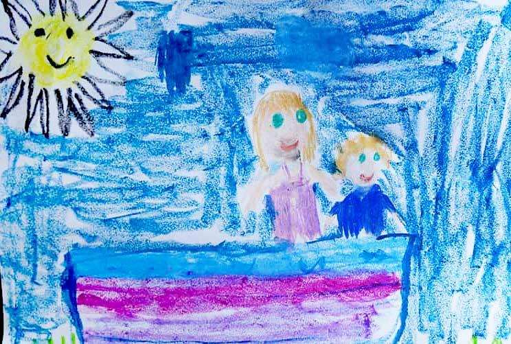 Двое в лодке. Рисунок. Таня, 7 лет